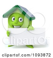 Clipart 3d Solar Powered Green House Holding A Sign 1 Royalty Free CGI Illustration