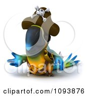 Clipart 3d Blue Macaw Parrot Pirate Presenting Royalty Free CGI Illustration