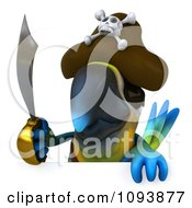Clipart 3d Blue Macaw Parrot Pirate Holding A Sword Over A Sign Royalty Free CGI Illustration
