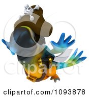 Clipart 3d Blue Macaw Parrot Pirate Flying Royalty Free CGI Illustration