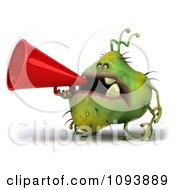 Clipart 3d Chubby Monster Or Germ Using A Megaphone 1 Royalty Free CGI Illustration