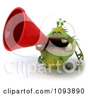 Clipart 3d Chubby Monster Or Germ Using A Megaphone 2 Royalty Free CGI Illustration