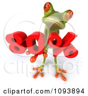 Clipart 3d Retail Green Springer Frog Looking Up And Holding A Red 80 Percent Royalty Free CGI Illustration
