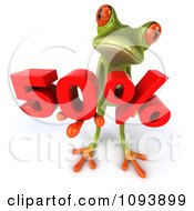Clipart 3d Retail Green Springer Frog Looking Up And Holding A Red 50 Percent Royalty Free CGI Illustration