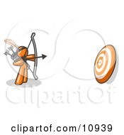 Orange Man Aiming A Bow And Arrow At A Target During Archery Practice Clipart Illustration