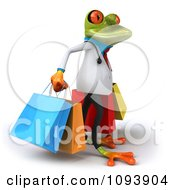 Clipart 3d Doctor Springer Frog Carrying Shopping Bags 2 Royalty Free CGI Illustration