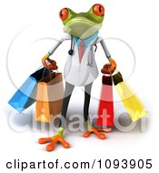 Clipart 3d Doctor Springer Frog Carrying Shopping Bags 1 Royalty Free CGI Illustration