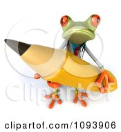 Clipart 3d Doctor Springer Frog Using A Pencil 1 Royalty Free CGI Illustration
