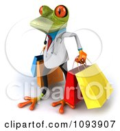 Clipart 3d Doctor Springer Frog Carrying Shopping Bags 3 Royalty Free CGI Illustration