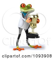 Clipart 3d Doctor Springer Frog Holding A Trophy Royalty Free CGI Illustration