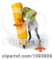 Clipart 3d Doctor Springer Frog Using A Pencil 3 Royalty Free CGI Illustration
