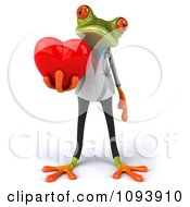 Clipart 3d Doctor Springer Frog Holding A Heart 1 Royalty Free CGI Illustration