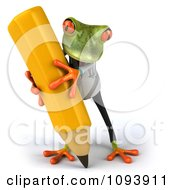 Clipart 3d Doctor Springer Frog Using A Pencil 2 Royalty Free CGI Illustration