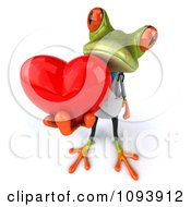 Clipart 3d Doctor Springer Frog Holding A Heart 2 Royalty Free CGI Illustration