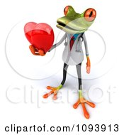 Clipart 3d Doctor Springer Frog Holding A Heart 3 Royalty Free CGI Illustration