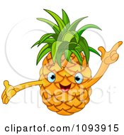 Clipart Happy Pineapple Character Holding A Finger Up Royalty Free Vector Illustration by Pushkin