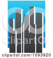 Clipart Blue White And Gray Urban Skyscraper Logo 2 Royalty Free Vector Illustration by elena