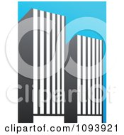 Clipart Blue White And Gray Urban Skyscraper Logo 5 Royalty Free Vector Illustration by elena