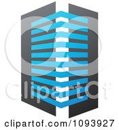 Clipart Blue White And Gray Urban Skyscraper Logo 11 Royalty Free Vector Illustration by elena
