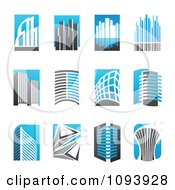 Clipart Blue White And Gray Urban Skyscraper Logos Royalty Free Vector Illustration by elena