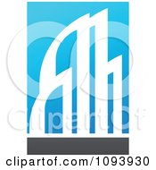 Clipart Blue White And Gray Urban Skyscraper Logo 1 Royalty Free Vector Illustration by elena