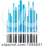 Clipart Blue White And Gray Urban Skyscraper Logo 4 Royalty Free Vector Illustration