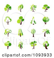 Clipart Green Tree Logos Royalty Free Vector Illustration by elena