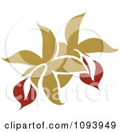Clipart Red And Green Flower Logo 4 Royalty Free Vector Illustration