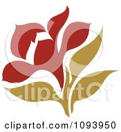 Clipart Red And Green Flower Logo 1 Royalty Free Vector Illustration