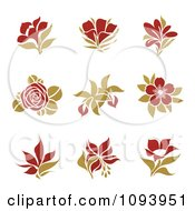 Clipart Red And Green Flower Logos Royalty Free Vector Illustration