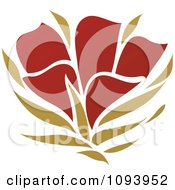 Clipart Red And Green Flower Logo 2 Royalty Free Vector Illustration