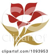 Clipart Red And Green Flower Logo 7 Royalty Free Vector Illustration
