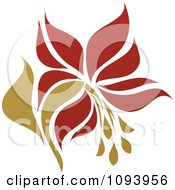 Clipart Red And Green Flower Logo 6 Royalty Free Vector Illustration