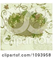 Clipart Grungy Green Background With Handwriting And A Frame With Leaves Royalty Free Vector Illustration