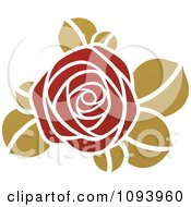 Clipart Red And Green Rose Logo Royalty Free Vector Illustration