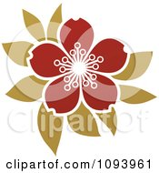 Clipart Red And Green Blossom Logo Royalty Free Vector Illustration
