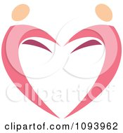 Clipart Dancing Pink Heart People 6 Royalty Free Vector Illustration