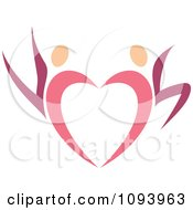 Clipart Dancing Pink Heart People 4 Royalty Free Vector Illustration