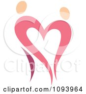 Clipart Dancing Pink Heart People 3 Royalty Free Vector Illustration