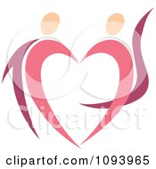 Clipart Dancing Pink Heart People 2 Royalty Free Vector Illustration