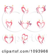 Clipart Dancing Pink Heart People Royalty Free Vector Illustration by elena