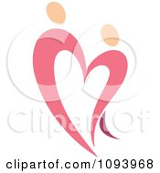 Clipart Dancing Pink Heart People 7 Royalty Free Vector Illustration