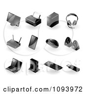 Clipart 3d Black Modern Computer Peripheral Herial Icons Royalty Free Vector Illustration