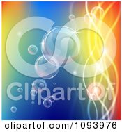 Clipart Bubbles Floating With Colorful Orbs And Waves Royalty Free Vector Illustration