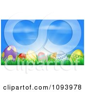 Clipart 3d Easter Eggs Set In Grass Under A Blue Sky With Sunshine Royalty Free Vector Illustration