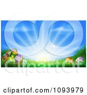 Clipart 3d Easter Basket And Eggs Set In Ggrass Under A Blue Sky With Sunshine Royalty Free Vector Illustration