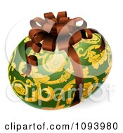 Clipart 3d Green And Gold Patterned Easter Egg With A Bow Royalty Free Vector Illustration