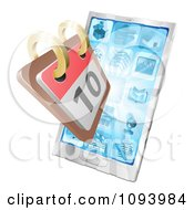 Clipart 3d Calendar Over A Smartphone Royalty Free Vector Illustration
