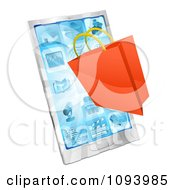 Clipart 3d Shopping Bag Over A Smartphone Royalty Free Vector Illustration