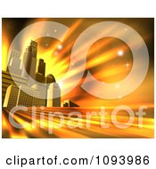 Clipart 3d Skyscrapers In An Urban City Block Against Orange Rays And Flares Royalty Free Vector Illustration